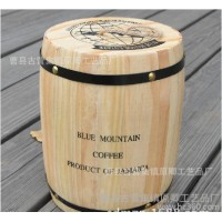 木质咖啡桶 储物罐 生豆储豆筒 带盖装 装饰桶特价