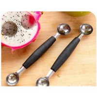 双头不锈钢挖球器水果勺子 西瓜火龙果冰淇淋勺果冻挖勺
