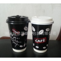 直销定制一次性纸杯16盎司中空咖啡杯 500ml双层防烫纸杯带